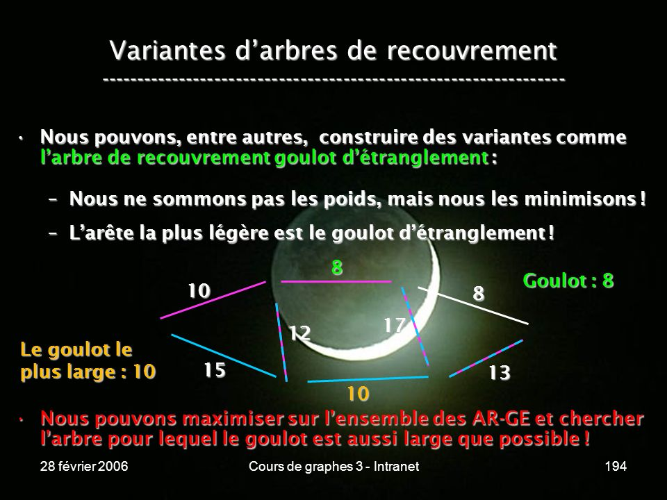 28 février 2006Cours de graphes 3 - Intranet194 Variantes darbres de recouvrement ----------------------------------------------------------------- Nous pouvons, entre autres, construire des variantes comme larbre de recouvrement goulot détranglement :Nous pouvons, entre autres, construire des variantes comme larbre de recouvrement goulot détranglement : –Nous ne sommons pas les poids, mais nous les minimisons .