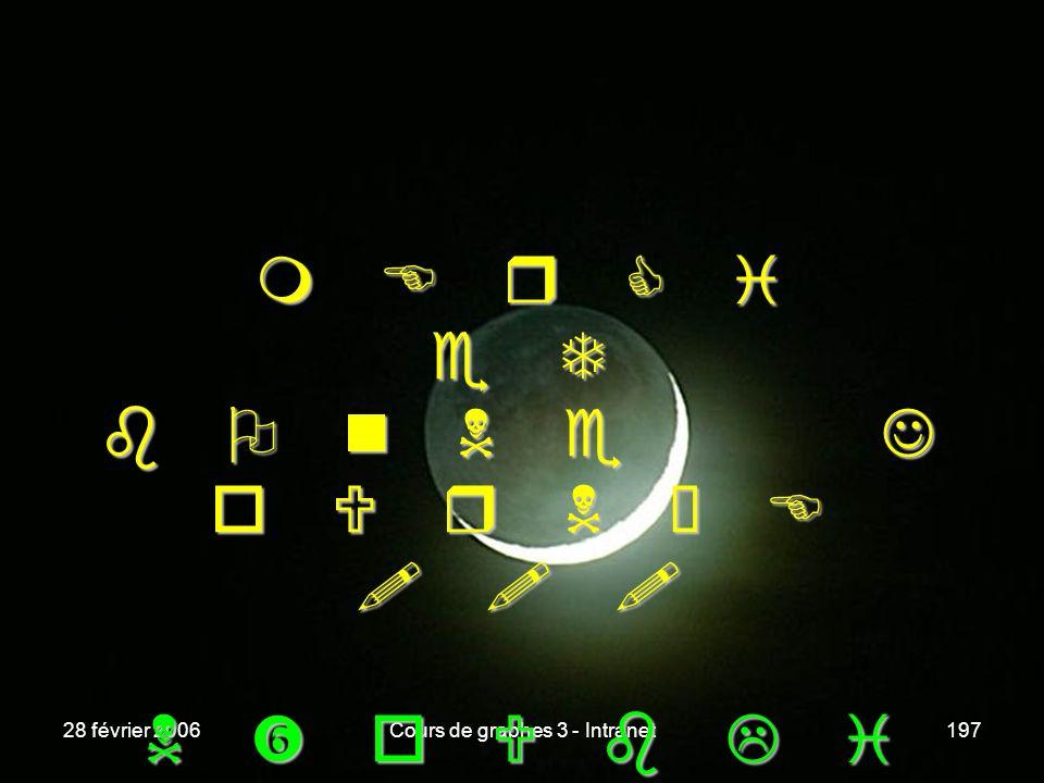 28 février 2006Cours de graphes 3 - Intranet197 m E r C i e T O n N e J o U r N é E ! ! ! O n N e J o U r N é E ! ! ! o U b L i E z P a S d E o U b L