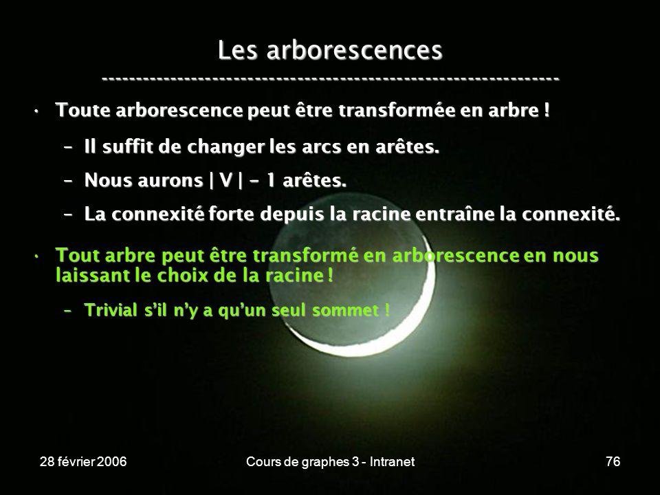 28 février 2006Cours de graphes 3 - Intranet76 Les arborescences ----------------------------------------------------------------- Toute arborescence peut être transformée en arbre !Toute arborescence peut être transformée en arbre .