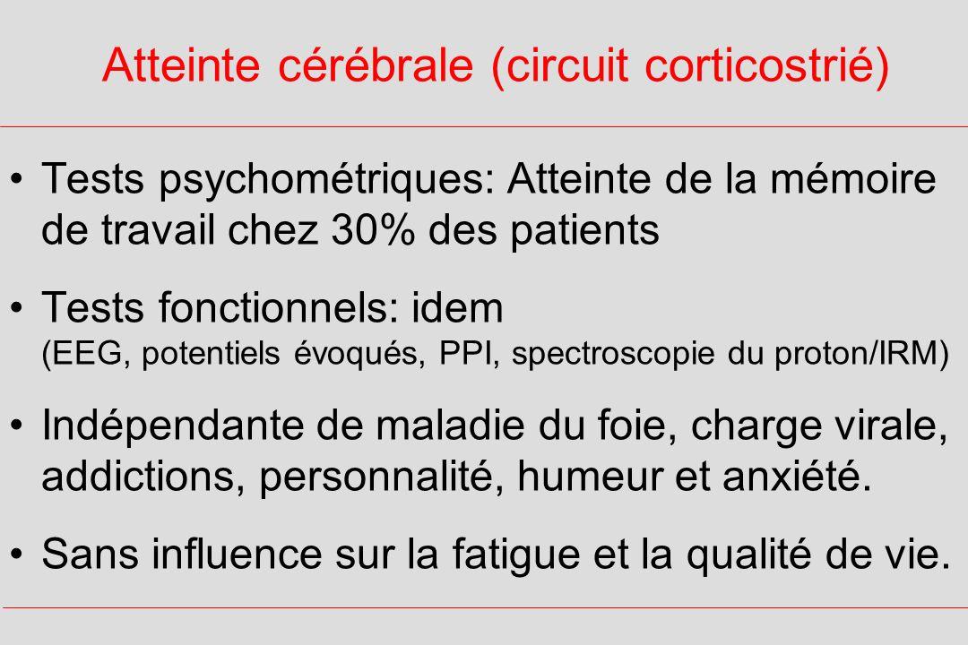 Atteinte cérébrale (circuit corticostrié) Tests psychométriques: Atteinte de la mémoire de travail chez 30% des patients Tests fonctionnels: idem (EEG, potentiels évoqués, PPI, spectroscopie du proton/IRM) Indépendante de maladie du foie, charge virale, addictions, personnalité, humeur et anxiété.