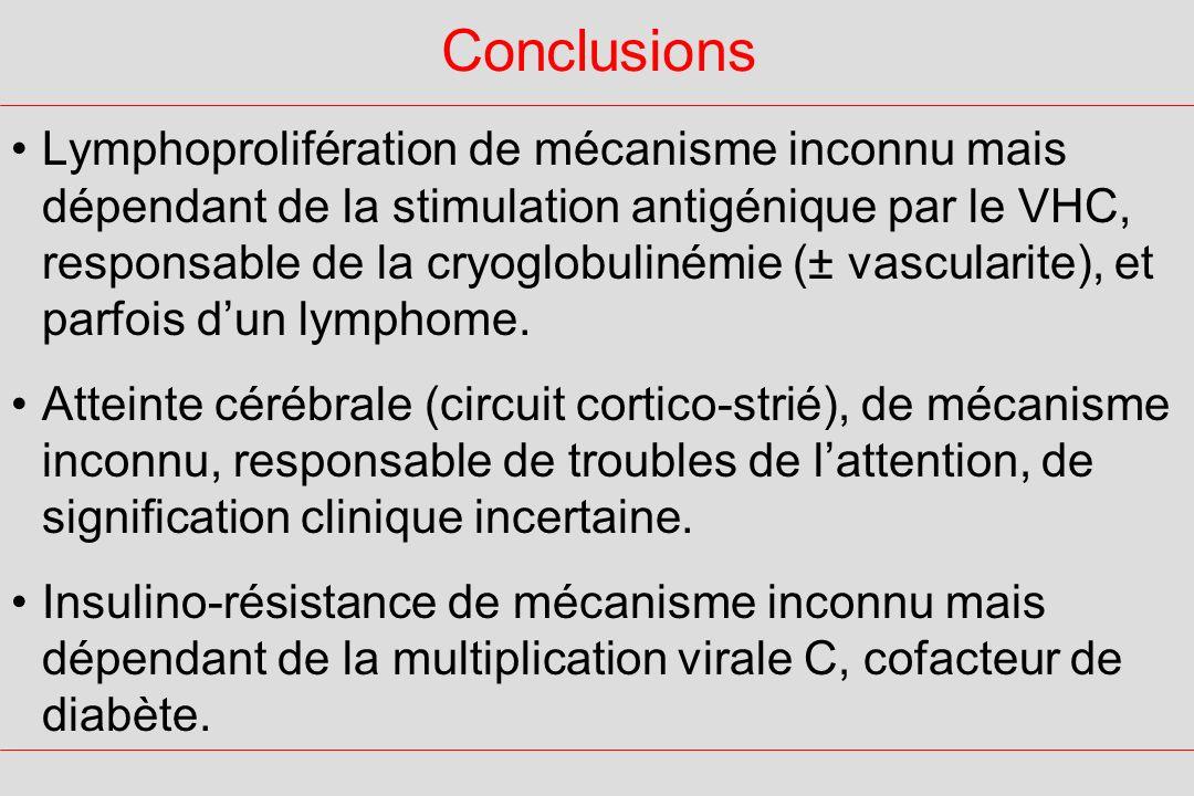 Conclusions Lymphoprolifération de mécanisme inconnu mais dépendant de la stimulation antigénique par le VHC, responsable de la cryoglobulinémie (± vascularite), et parfois dun lymphome.