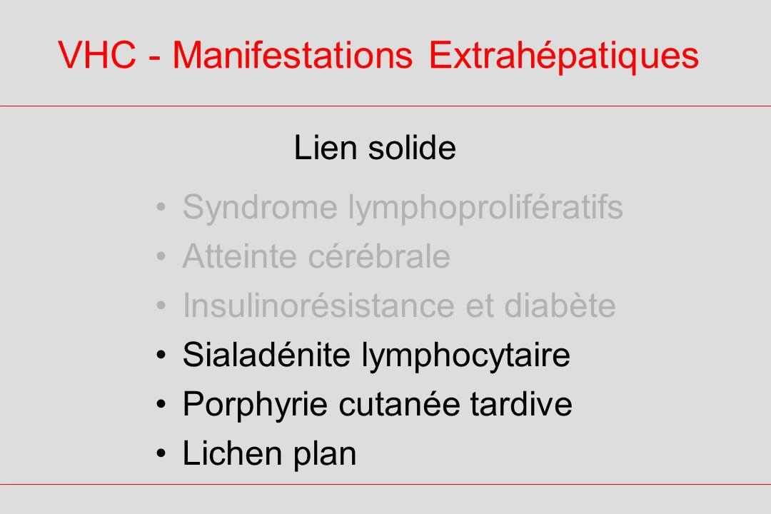 VHC - Manifestations Extrahépatiques Lien solide Syndrome lymphoprolifératifs Atteinte cérébrale Insulinorésistance et diabète Sialadénite lymphocytaire Porphyrie cutanée tardive Lichen plan