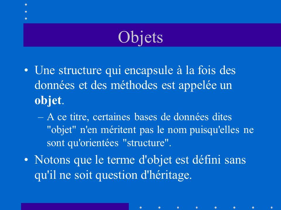 Objets Une structure qui encapsule à la fois des données et des méthodes est appelée un objet. –A ce titre, certaines bases de données dites