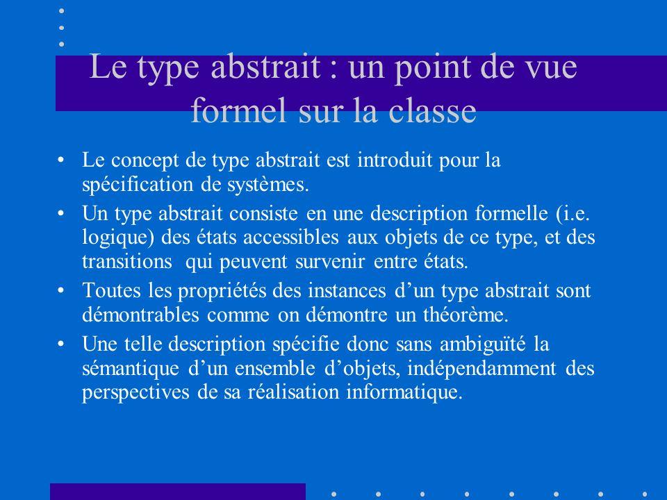 Le type abstrait : un point de vue formel sur la classe Le concept de type abstrait est introduit pour la spécification de systèmes. Un type abstrait