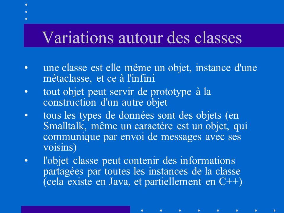 Variations autour des classes une classe est elle même un objet, instance d'une métaclasse, et ce à l'infini tout objet peut servir de prototype à la