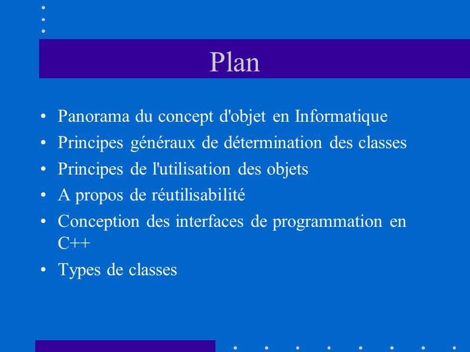 Plan Panorama du concept d'objet en Informatique Principes généraux de détermination des classes Principes de l'utilisation des objets A propos de réu