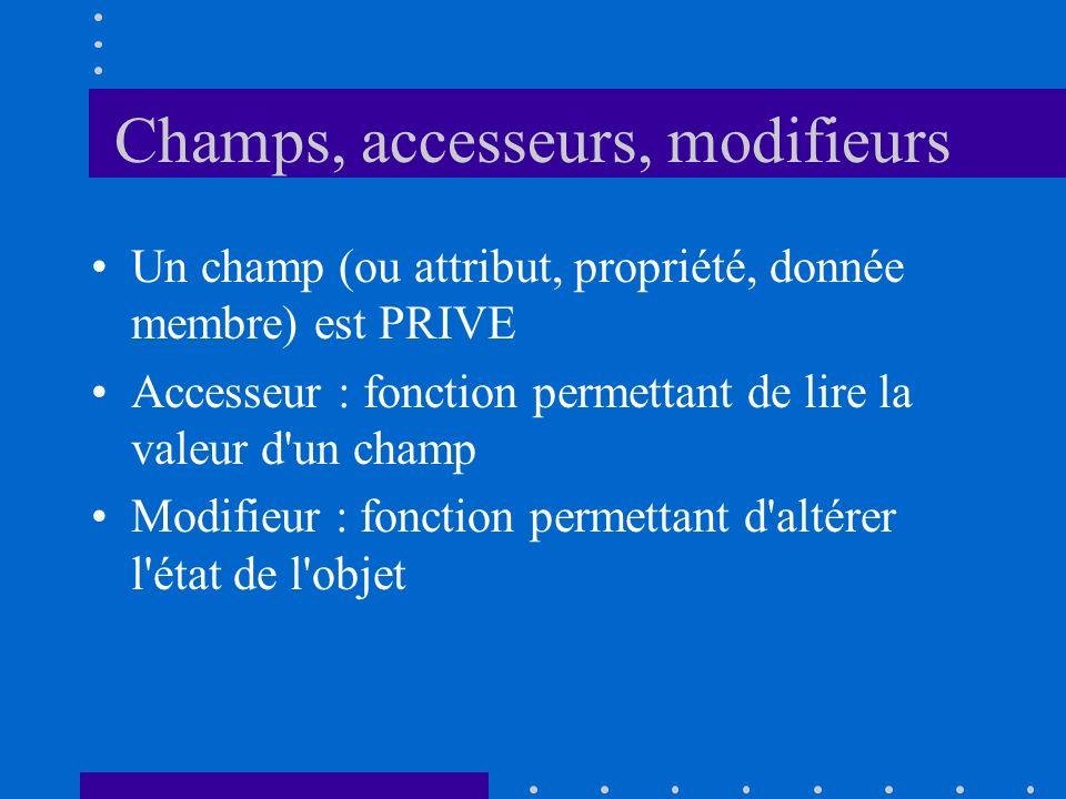 Champs, accesseurs, modifieurs Un champ (ou attribut, propriété, donnée membre) est PRIVE Accesseur : fonction permettant de lire la valeur d'un champ