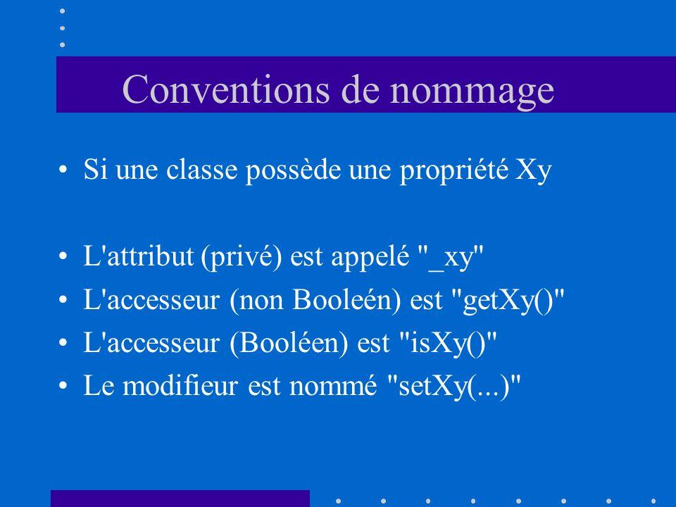 Conventions de nommage Si une classe possède une propriété Xy L'attribut (privé) est appelé