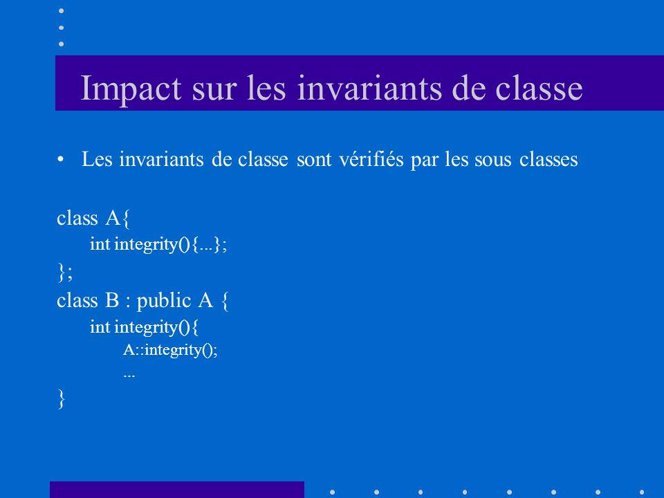 Impact sur les invariants de classe Les invariants de classe sont vérifiés par les sous classes class A{ int integrity(){...}; }; class B : public A {