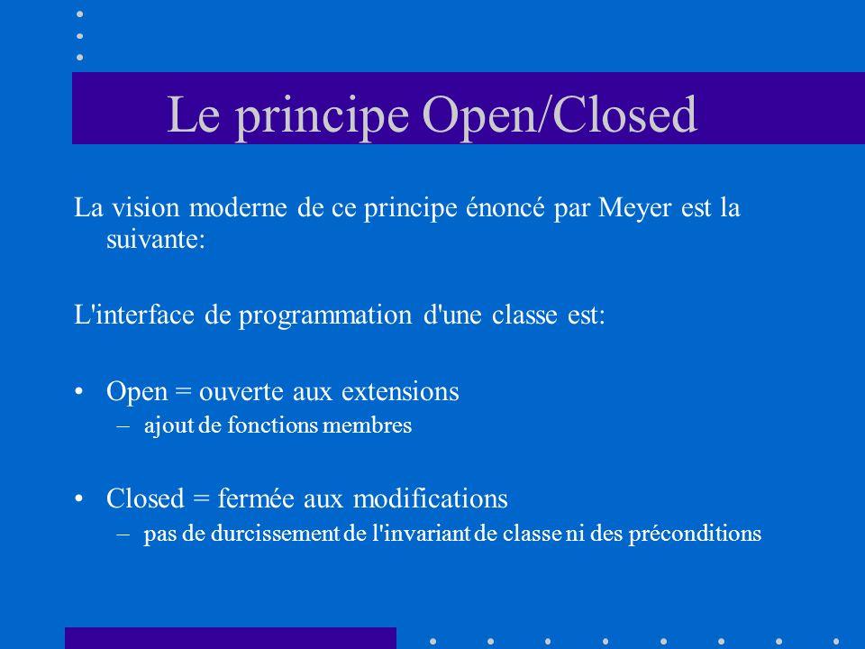 Le principe Open/Closed La vision moderne de ce principe énoncé par Meyer est la suivante: L'interface de programmation d'une classe est: Open = ouver