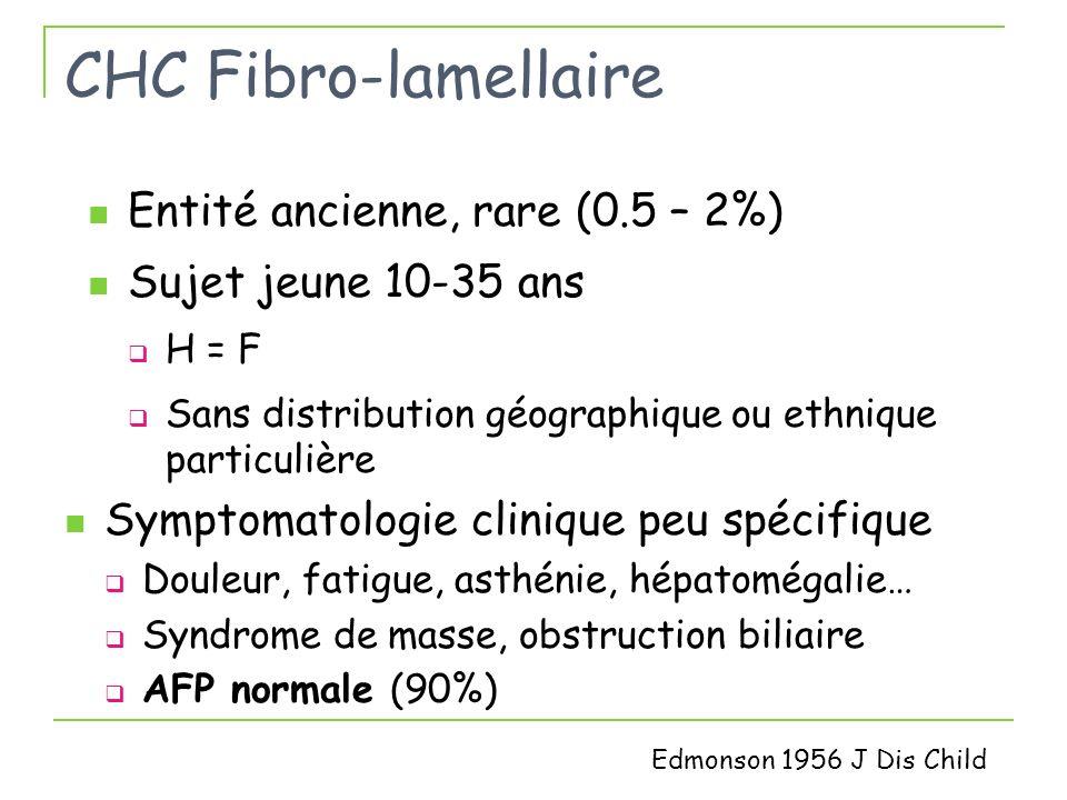 CHC associé au SM 31 patients Age moyen 67 ans, 30 H / 1 F IMC 30 [IMC >25 (81%)], Diabète (77%) CHC Découverte fortuite (55%) Taille moy 8.8 + 6 cm, Unique (78%) CHC bien différencié (65.5%) Invasion vasculaire (45%), satellite nodules (35.5%) Paradis V et al Hepatology 2009