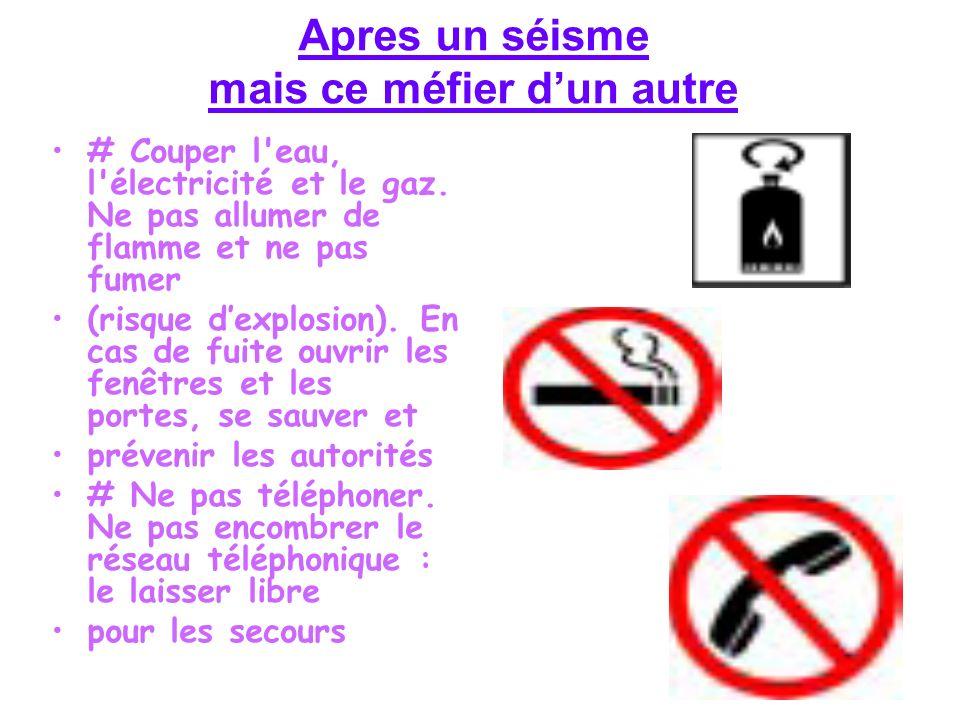 # Couper l'eau, l'électricité et le gaz. Ne pas allumer de flamme et ne pas fumer (risque dexplosion). En cas de fuite ouvrir les fenêtres et les port