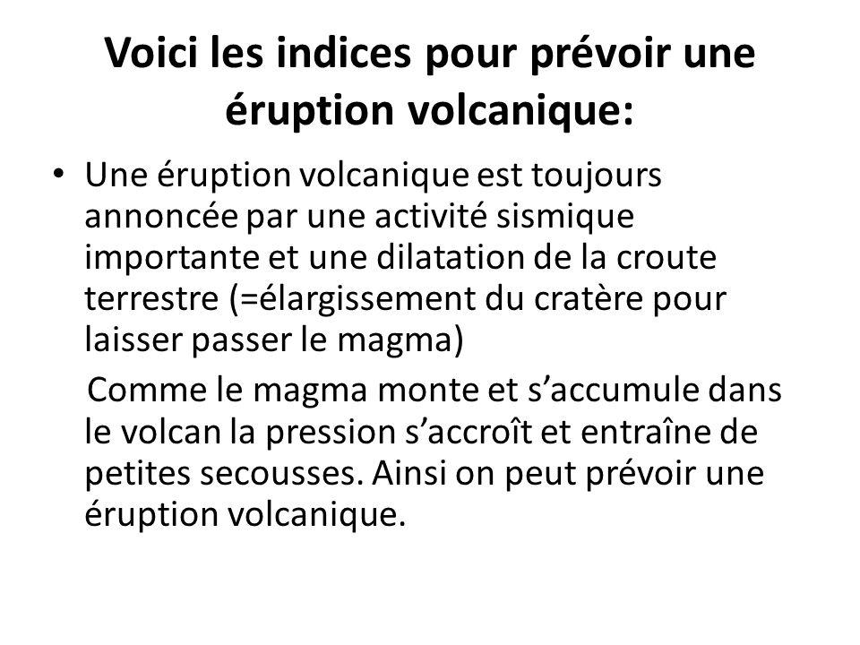 Voici les indices pour prévoir une éruption volcanique: Une éruption volcanique est toujours annoncée par une activité sismique importante et une dila