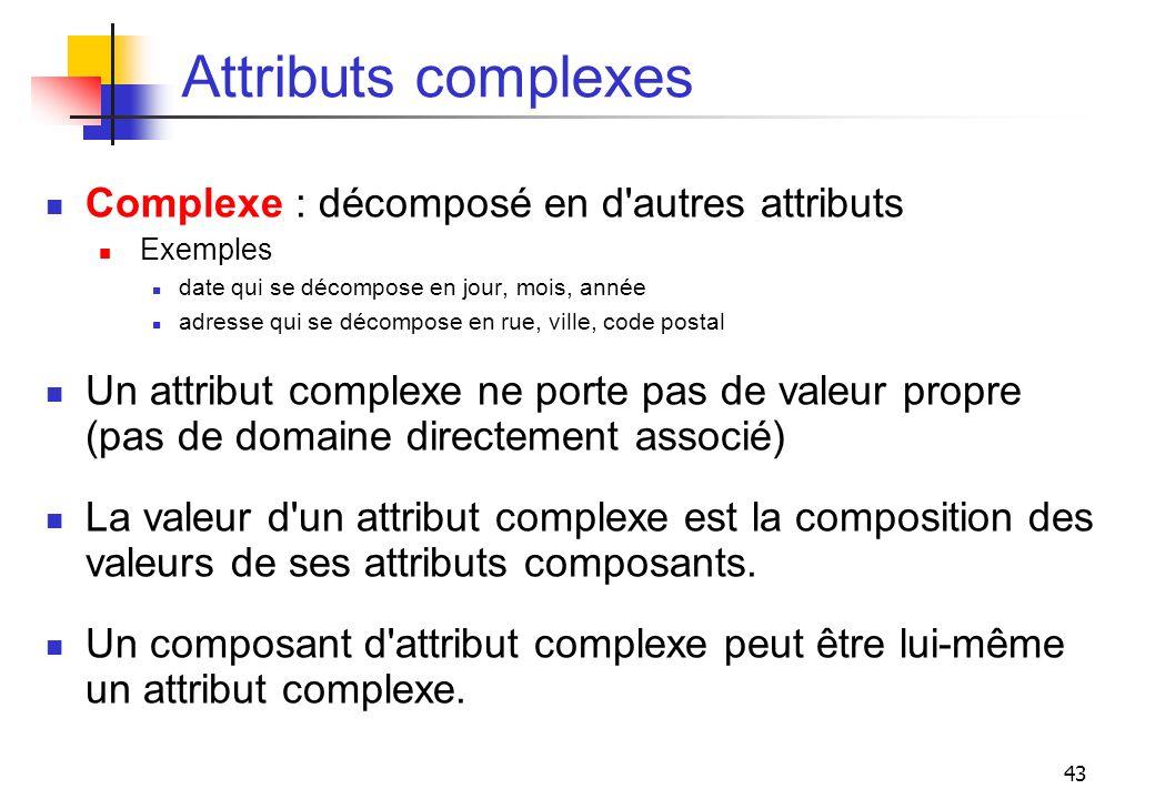 43 Attributs complexes Complexe : décomposé en d'autres attributs Exemples date qui se décompose en jour, mois, année adresse qui se décompose en rue,