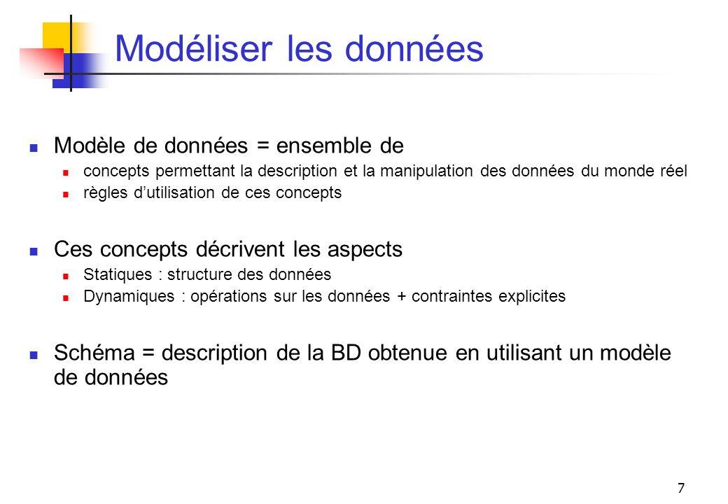 7 Modéliser les données Modèle de données = ensemble de concepts permettant la description et la manipulation des données du monde réel règles dutilis