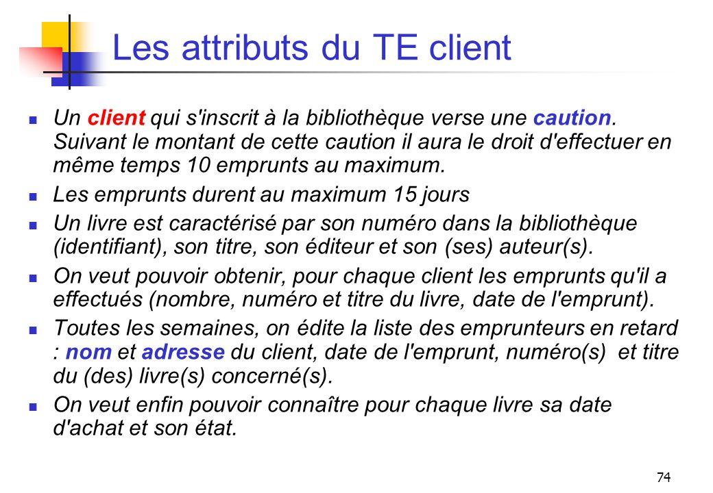 74 Les attributs du TE client Un client qui s'inscrit à la bibliothèque verse une caution. Suivant le montant de cette caution il aura le droit d'effe