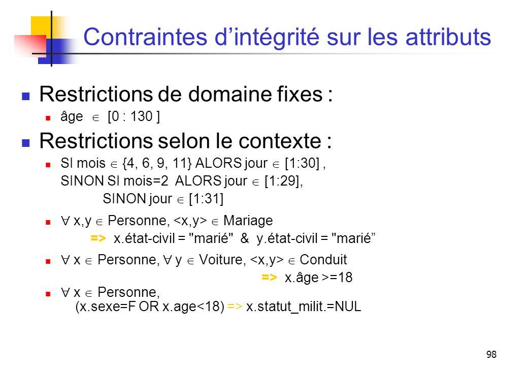 98 Contraintes dintégrité sur les attributs Restrictions de domaine fixes : âge [0 : 130 ] Restrictions selon le contexte : SI mois {4, 6, 9, 11} ALOR