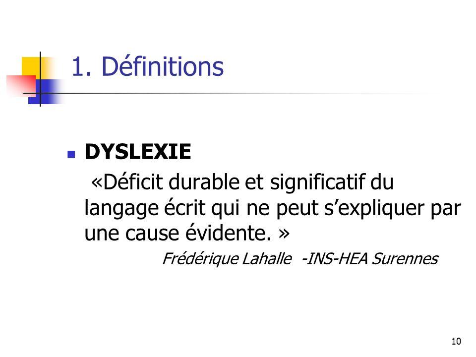 10 1. Définitions DYSLEXIE «Déficit durable et significatif du langage écrit qui ne peut sexpliquer par une cause évidente. » Frédérique Lahalle -INS-