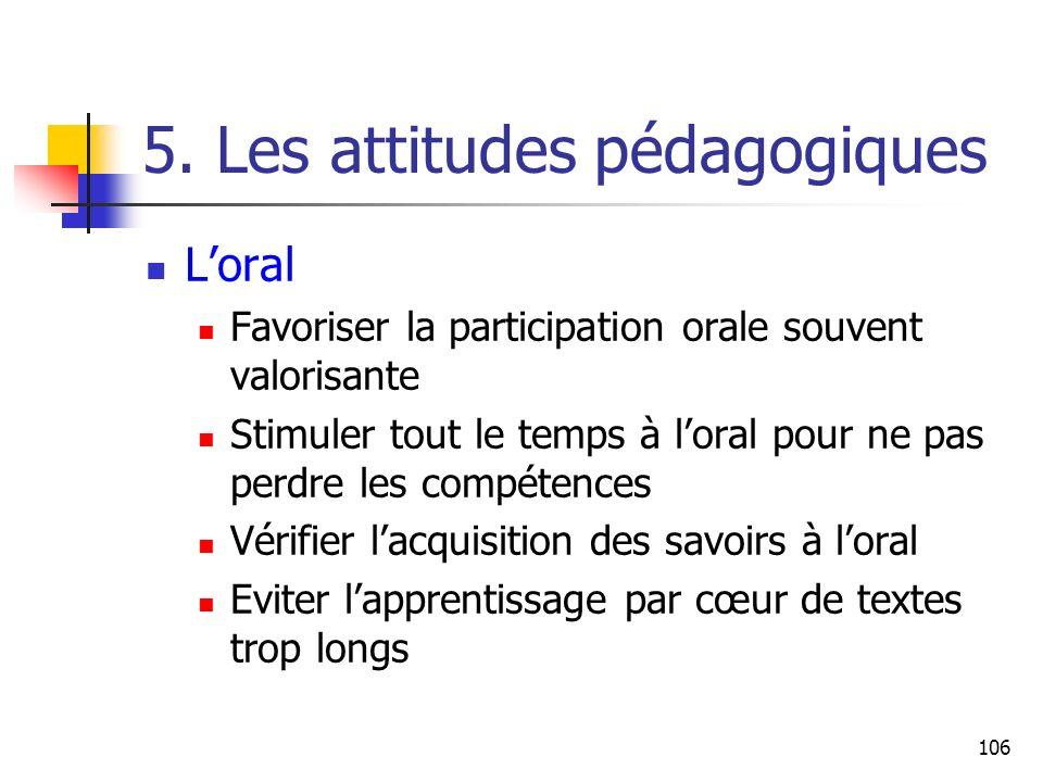 106 5. Les attitudes pédagogiques Loral Favoriser la participation orale souvent valorisante Stimuler tout le temps à loral pour ne pas perdre les com