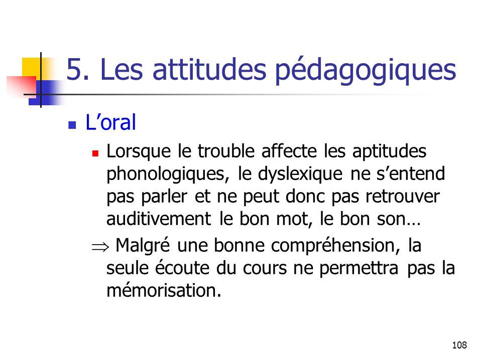 108 5. Les attitudes pédagogiques Loral Lorsque le trouble affecte les aptitudes phonologiques, le dyslexique ne sentend pas parler et ne peut donc pa