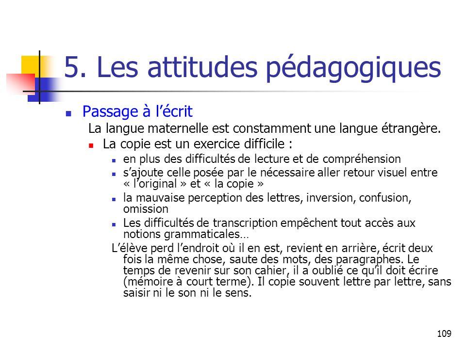 109 5. Les attitudes pédagogiques Passage à lécrit La langue maternelle est constamment une langue étrangère. La copie est un exercice difficile : en