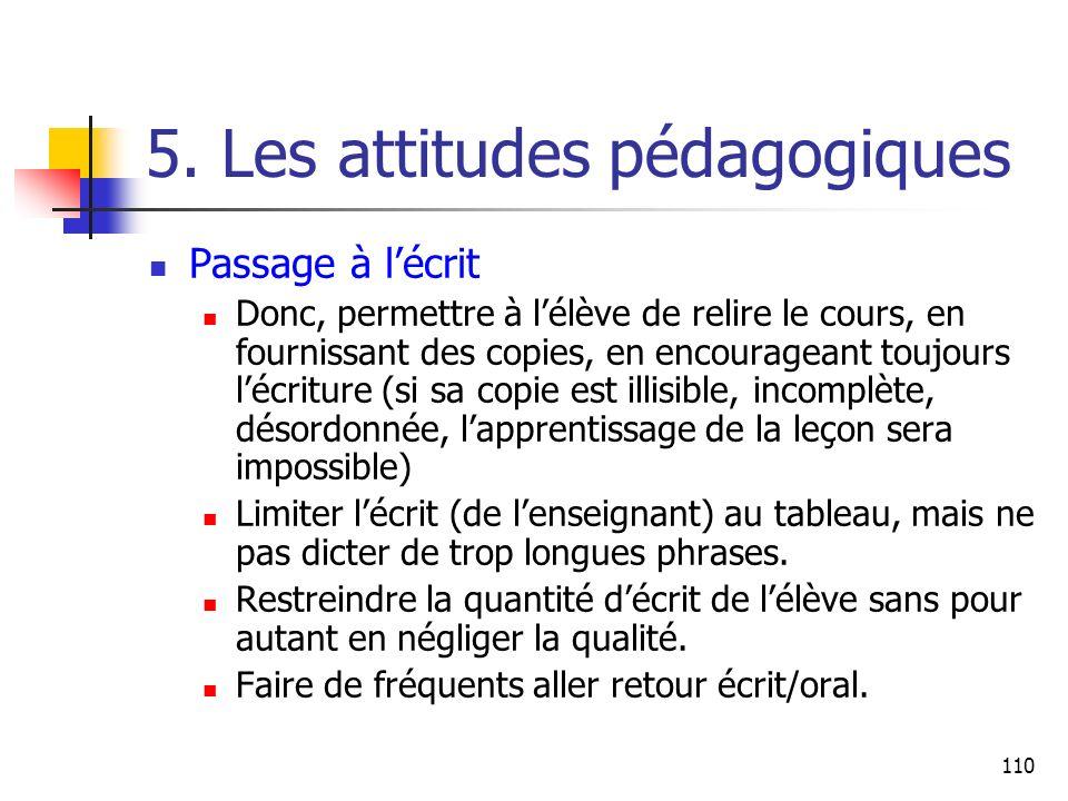 110 5. Les attitudes pédagogiques Passage à lécrit Donc, permettre à lélève de relire le cours, en fournissant des copies, en encourageant toujours lé