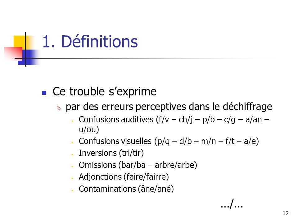 12 1. Définitions Ce trouble sexprime par des erreurs perceptives dans le déchiffrage Confusions auditives (f/v – ch/j – p/b – c/g – a/an – u/ou) Conf