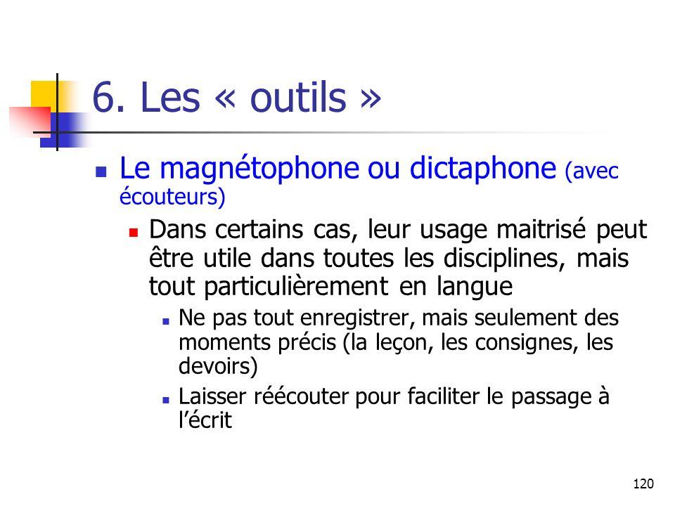 120 6. Les « outils » Le magnétophone ou dictaphone (avec écouteurs) Dans certains cas, leur usage maitrisé peut être utile dans toutes les discipline