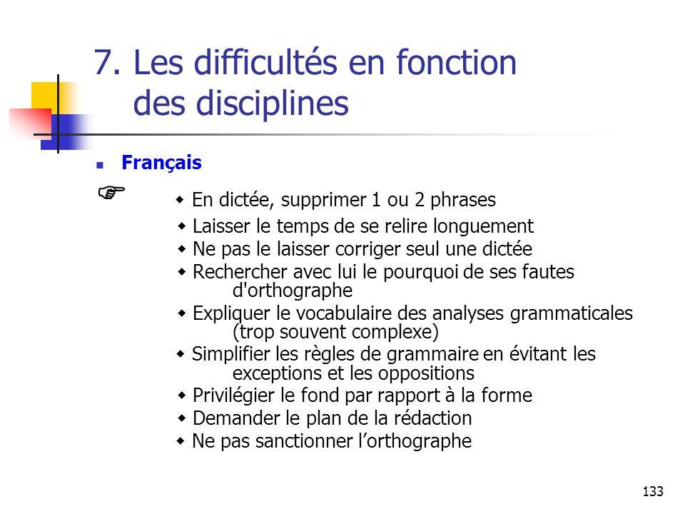 133 7. Les difficultés en fonction des disciplines Français En dictée, supprimer 1 ou 2 phrases Laisser le temps de se relire longuement Ne pas le lai
