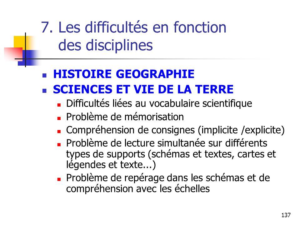137 7. Les difficultés en fonction des disciplines HISTOIRE GEOGRAPHIE SCIENCES ET VIE DE LA TERRE Difficultés liées au vocabulaire scientifique Probl