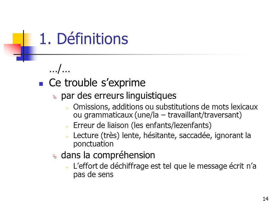 14 1. Définitions …/… Ce trouble sexprime par des erreurs linguistiques Omissions, additions ou substitutions de mots lexicaux ou grammaticaux (une/la