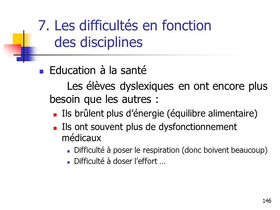 146 7. Les difficultés en fonction des disciplines Education à la santé Les élèves dyslexiques en ont encore plus besoin que les autres : Ils brûlent
