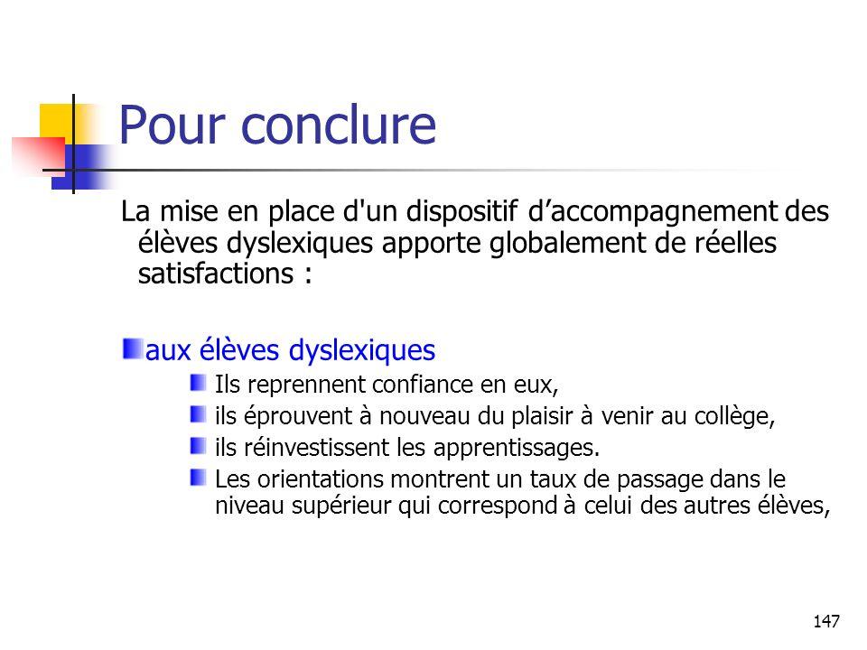147 Pour conclure La mise en place d'un dispositif daccompagnement des élèves dyslexiques apporte globalement de réelles satisfactions : aux élèves dy