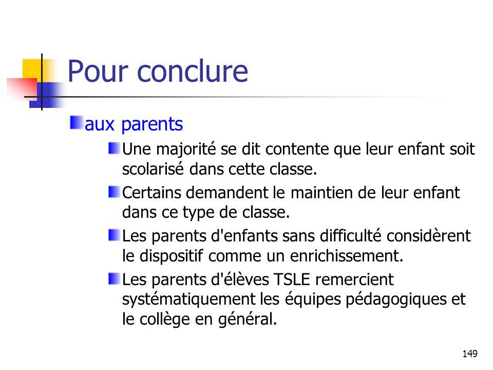 149 Pour conclure aux parents Une majorité se dit contente que leur enfant soit scolarisé dans cette classe. Certains demandent le maintien de leur en