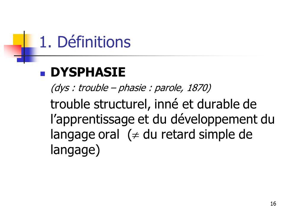 16 1. Définitions DYSPHASIE (dys : trouble – phasie : parole, 1870) trouble structurel, inné et durable de lapprentissage et du développement du langa