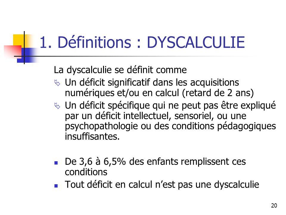 20 1. Définitions : DYSCALCULIE La dyscalculie se définit comme Un déficit significatif dans les acquisitions numériques et/ou en calcul (retard de 2