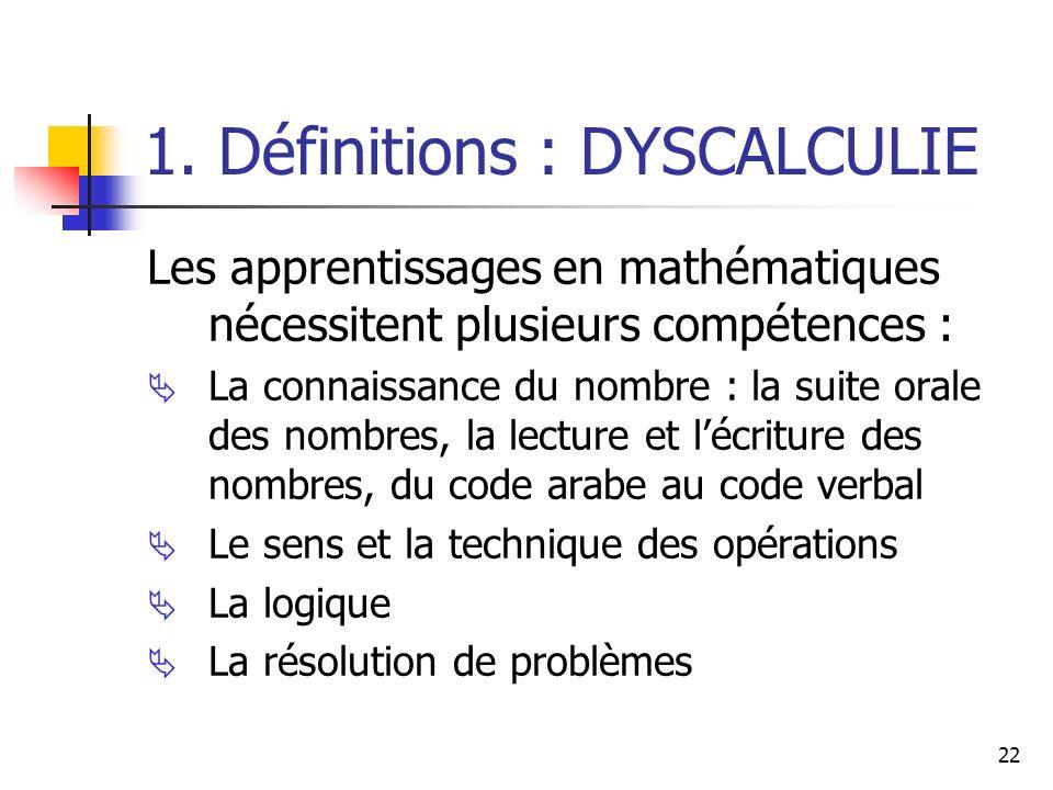 22 1. Définitions : DYSCALCULIE Les apprentissages en mathématiques nécessitent plusieurs compétences : La connaissance du nombre : la suite orale des