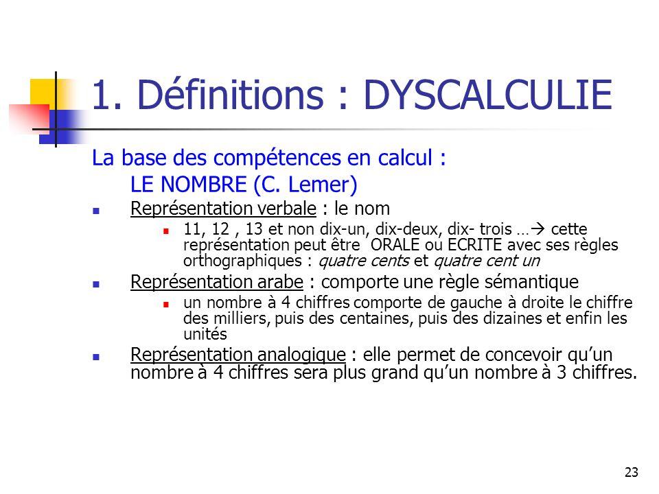 23 1. Définitions : DYSCALCULIE La base des compétences en calcul : LE NOMBRE (C. Lemer) Représentation verbale : le nom 11, 12, 13 et non dix-un, dix