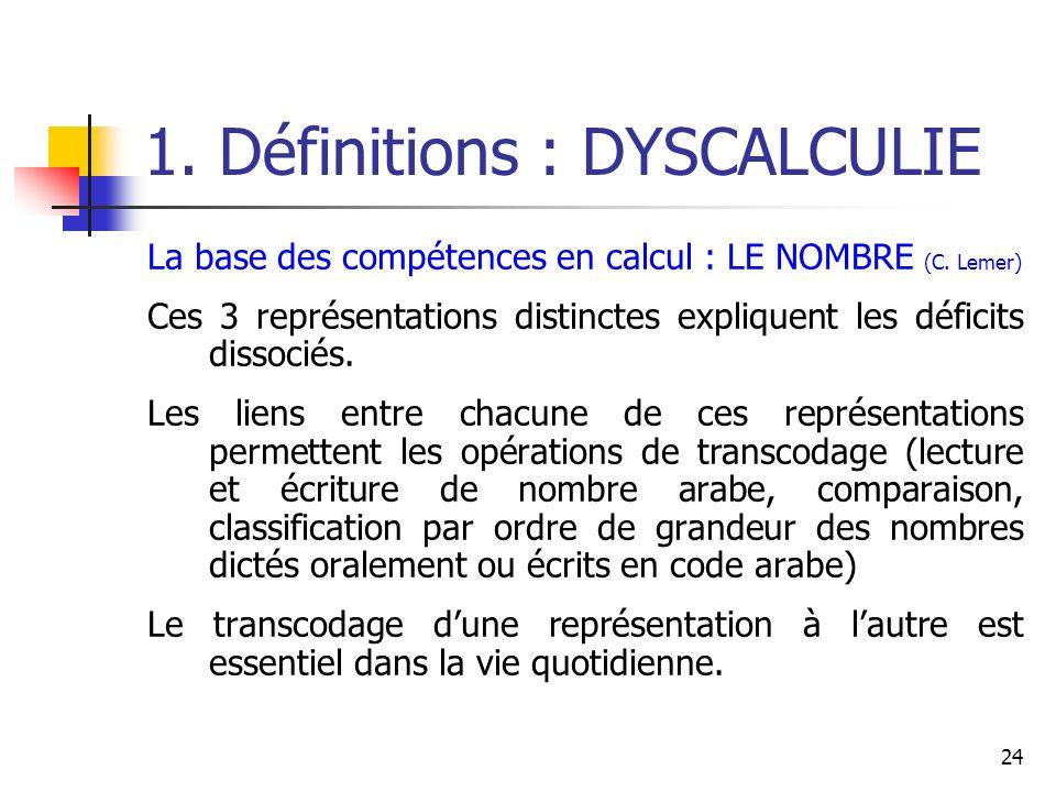 24 1. Définitions : DYSCALCULIE La base des compétences en calcul : LE NOMBRE (C. Lemer) Ces 3 représentations distinctes expliquent les déficits diss