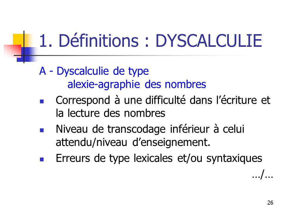 26 1. Définitions : DYSCALCULIE A - Dyscalculie de type alexie-agraphie des nombres Correspond à une difficulté dans lécriture et la lecture des nombr