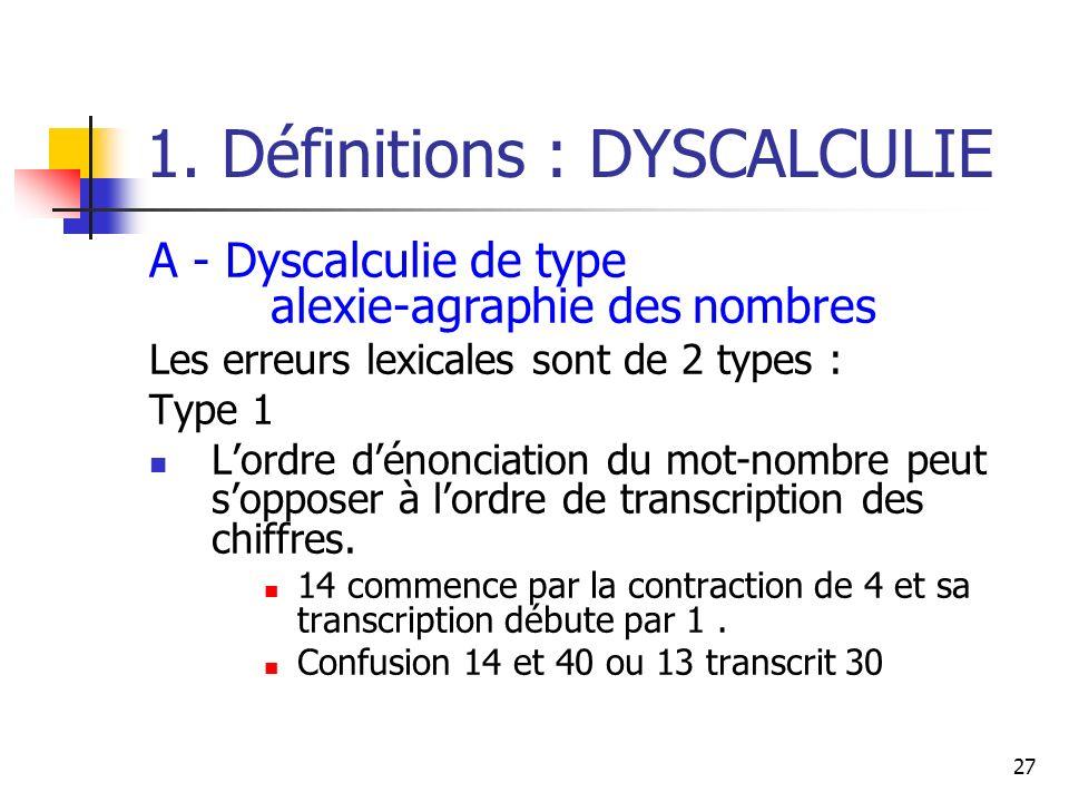 27 1. Définitions : DYSCALCULIE A - Dyscalculie de type alexie-agraphie des nombres Les erreurs lexicales sont de 2 types : Type 1 Lordre dénonciation