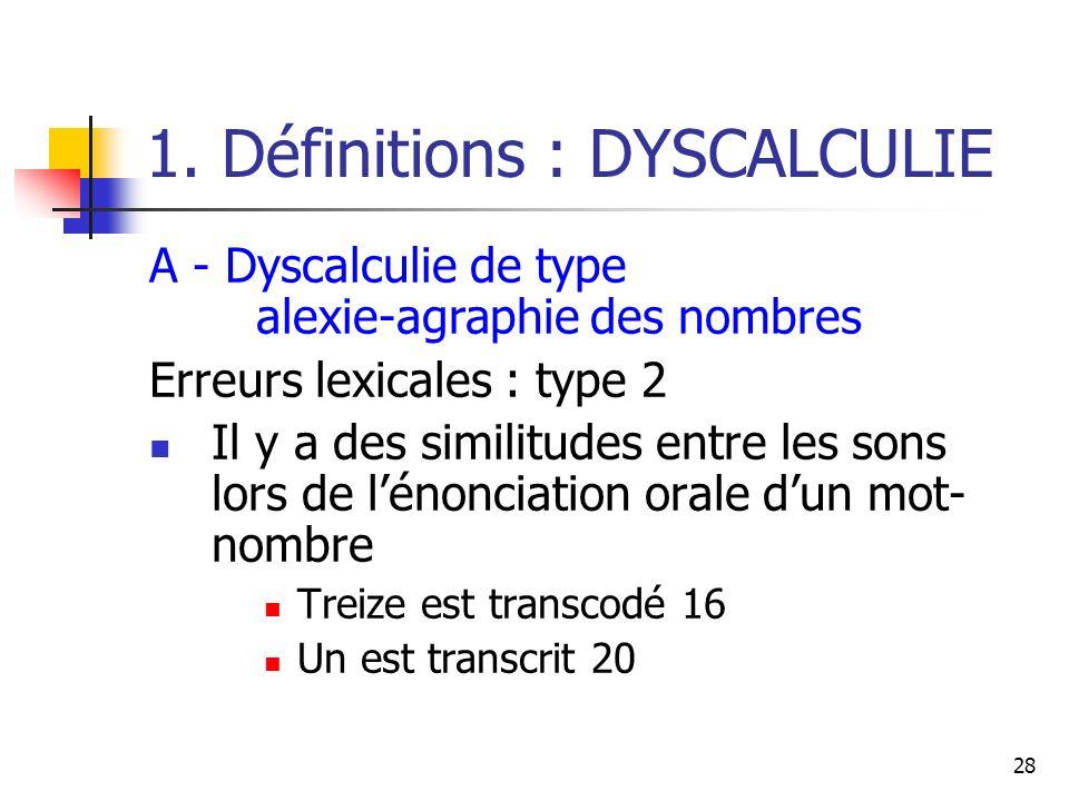 28 1. Définitions : DYSCALCULIE A - Dyscalculie de type alexie-agraphie des nombres Erreurs lexicales : type 2 Il y a des similitudes entre les sons l
