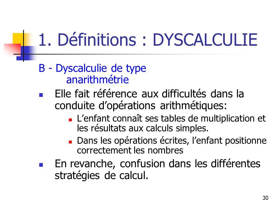 30 1. Définitions : DYSCALCULIE B - Dyscalculie de type anarithmétrie Elle fait référence aux difficultés dans la conduite dopérations arithmétiques:
