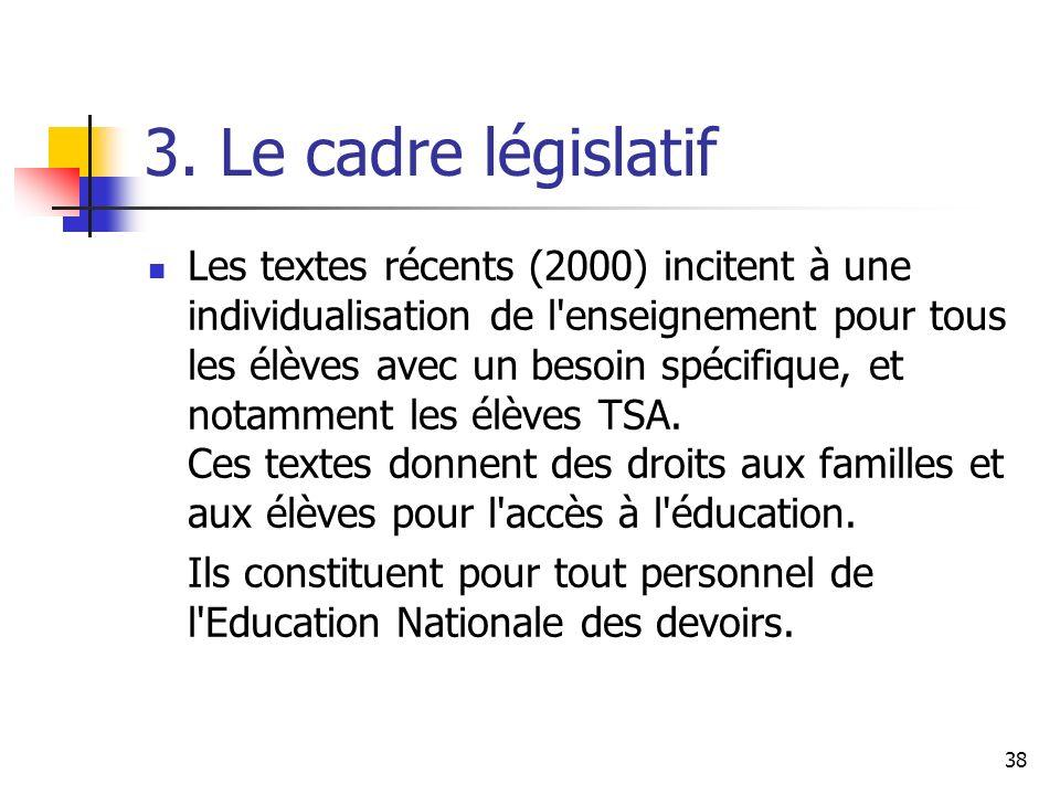 38 3. Le cadre législatif Les textes récents (2000) incitent à une individualisation de l'enseignement pour tous les élèves avec un besoin spécifique,