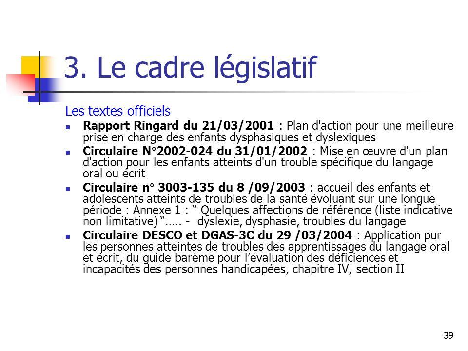 39 3. Le cadre législatif Les textes officiels Rapport Ringard du 21/03/2001 : Plan d'action pour une meilleure prise en charge des enfants dysphasiqu