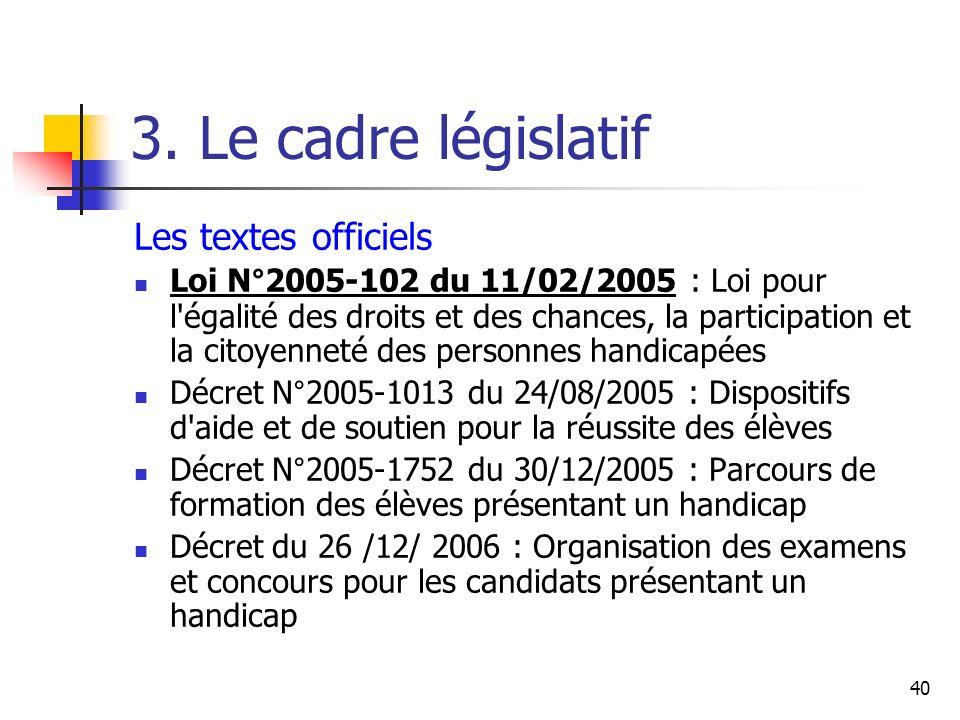 40 3. Le cadre législatif Les textes officiels Loi N°2005-102 du 11/02/2005 : Loi pour l'égalité des droits et des chances, la participation et la cit
