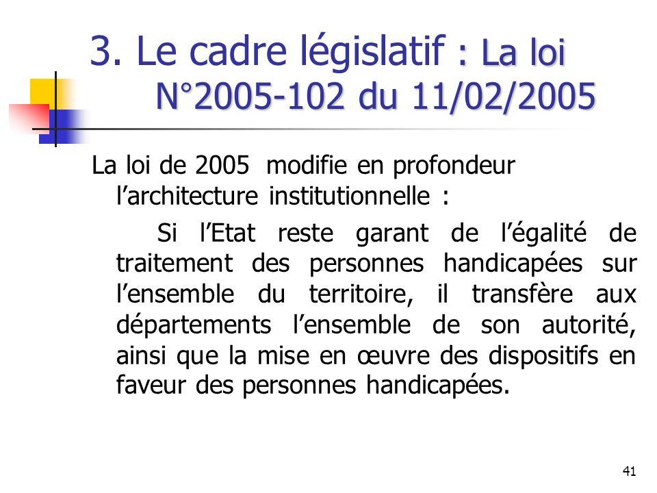 41 : La loi N°2005-102 du 11/02/2005 3. Le cadre législatif : La loi N°2005-102 du 11/02/2005 La loi de 2005 modifie en profondeur larchitecture insti