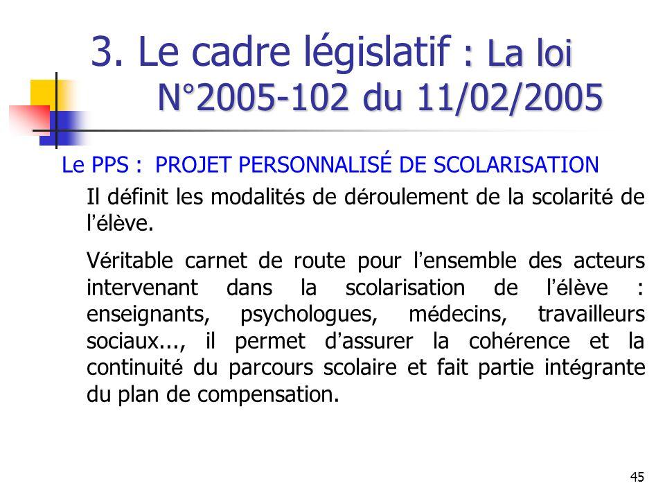 45 : La loi N°2005-102 du 11/02/2005 3. Le cadre législatif : La loi N°2005-102 du 11/02/2005 Le PPS : PROJET PERSONNALISÉ DE SCOLARISATION Il d é fin