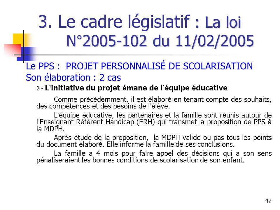47 : La loi N°2005-102 du 11/02/2005 3. Le cadre législatif : La loi N°2005-102 du 11/02/2005 Le PPS : PROJET PERSONNALISÉ DE SCOLARISATION Son élabor
