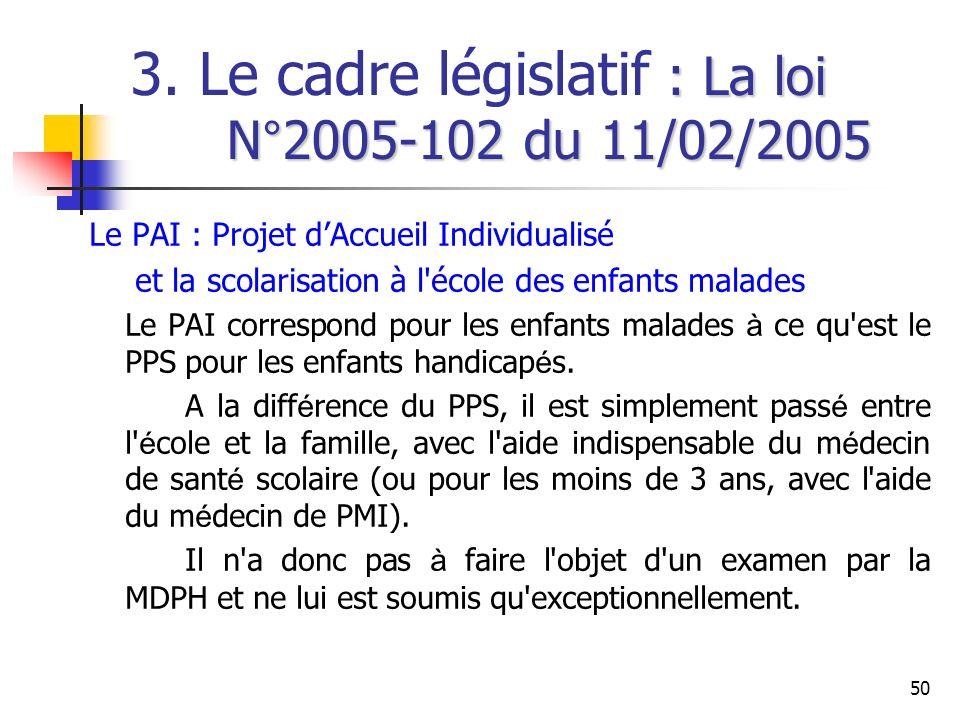 50 : La loi N°2005-102 du 11/02/2005 3. Le cadre législatif : La loi N°2005-102 du 11/02/2005 Le PAI : Projet dAccueil Individualisé et la scolarisati